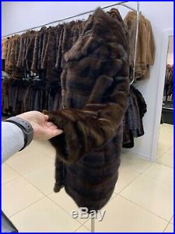 Womens Real 100%1108789 Mink brown Fur long Coat Hooded Jacket with belt size M