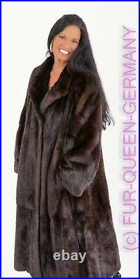 XL GREAT EXTRA LONG BROWN SAGA FURS ROYAL MINK SWINGER FUR COAT from whole skins