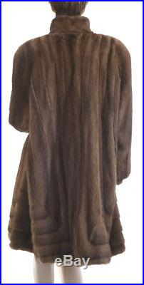 XL! Mary McFadden Couture Female Sable Color Mink Fur Directional Swing Coat